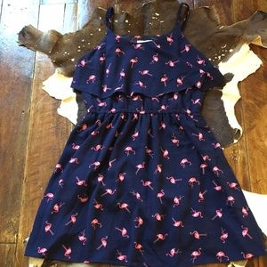 Adorable Blue Summer Dress With Flamingos NWT
